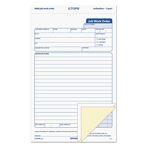 """TOPS 3868 Snap-Off Job Work Order Form, 5 2/3"""" x 8 5/8"""", Three-Part Carbonless (Pack of 50 Forms)"""
