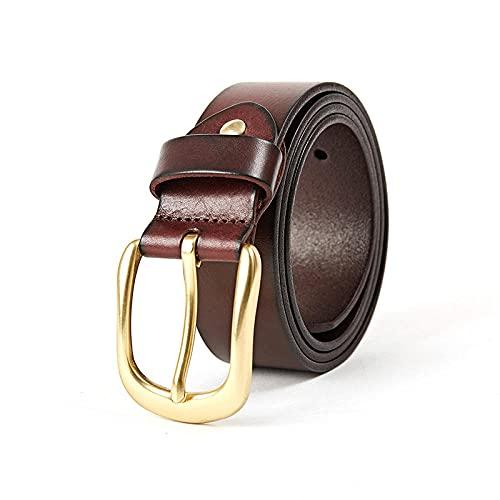 MIKUAP Pantalones De Hombre Y Mujer Con Cinturón De Hilo Grueso Para Coche Con Hebilla De Alfiler Marrón 3.5X145Cm