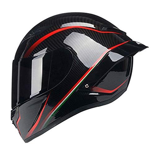 Woljay Vollgesicht Motorradhelm Unisex-Erwachsener Offroad Moto Street Bike ATV Helme Glas Rote Linie DOT Approved (Smoke,M)