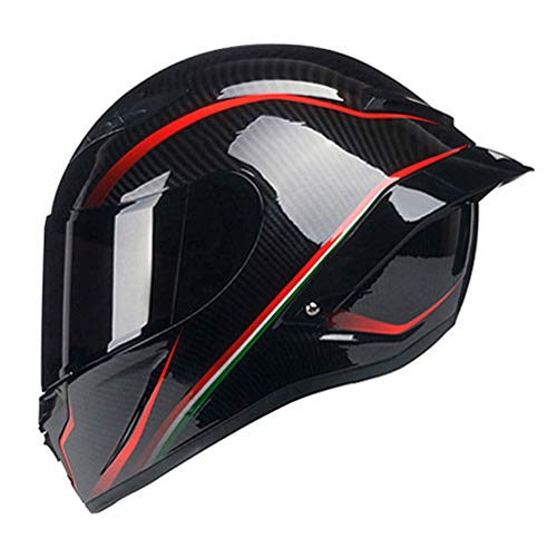 Woljay Full Face Motorcycle Helmet Racing Helmet Motocross Off Road Moto Street Bike Helmets (M, Carbon Fiber Red u Black Gloss)