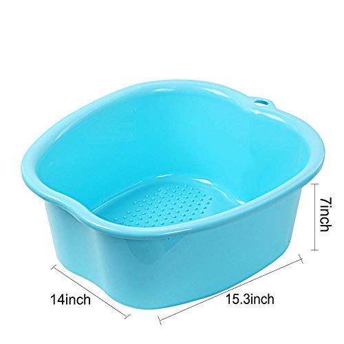 LIUJIE Große Fußbadewannenschüssel, Dickes festes Plastikfußbecken für Pediküre, Detox und Massage, vollkommen, um Ihre Füße, Zehennägel und Knöchel zu tränken, blau