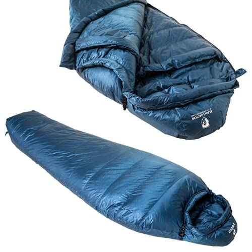 Alpin Loacker Ultra Leichter Daunenschlafsack | Mit Daunenfüllung | 3 Jahreszeiten tauglich | kleines Packmaß für Camping und Oudoor (bis 195 Körperlänge Rechts Zip)