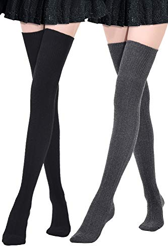 Kayhoma Extra Long Cotton Thigh High Socks Over the Knee High Boot Stockings Cotton Leg Warmers, 2 pairs