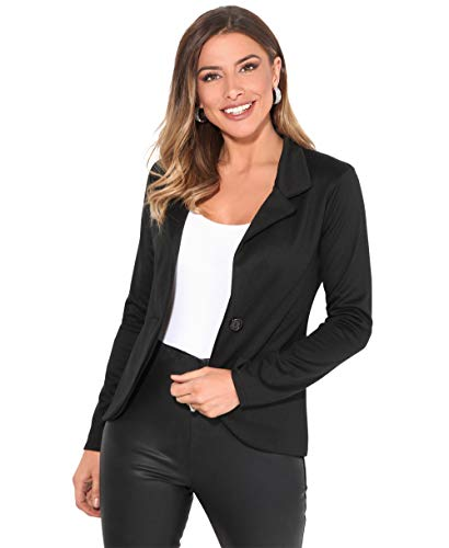 KRISP Smart Casual Stoff Fashion Blazer (Schwarz, Gr.44) (3558-BLK-16)