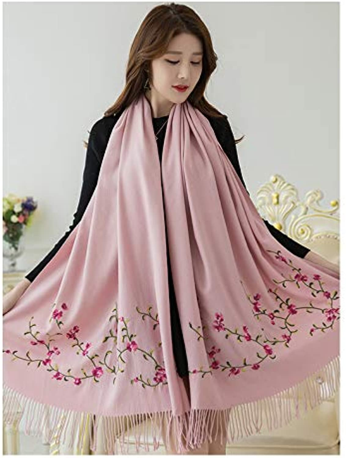 JINGB Home Embroidered Scarf Female Autumn and Winter Long Paragraph Versatile air Conditioning Shawl Dualuse Thick Winter Warm (color   Pink)