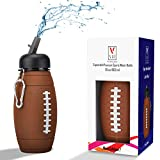 Kids Sports Water Bottle Collapsible Ball Shaped Drinking Cup Leak Proof School Lunch Mug Shockproof Squeezable Basketball Soccer Baseball Tennis Football Golf Champion Team Gift Idea Travel Jug