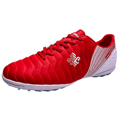 Zapatos de fútbol Niños Niñas TF Profesional Zapatillas de fútbol Aire Libre Atletismo Calzado de Entrenamiento Zapatillas de fútbol Unisex Antideslizante Botas de fútbol para Niños Rojo EU 35