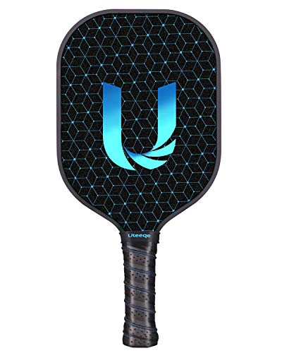 Uteeqe Pickleball Paddles Graphite Pickleball Paddle Lightweight Texture Surface Polymer Honeycomb Core Pickleball Racket Cushion Comfort Contour Grip Low-Profile Edge Guard Pickleball Racquet