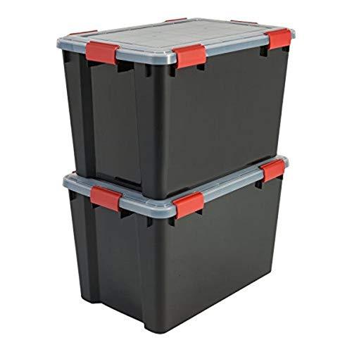 Iris Ohyama, Juego de 2 Cajas de Almacenamiento Hermética, 70 L, con Clips, Apilable, Garaje, Sótano, Ático - Air Tight Box At-Ld - Negro