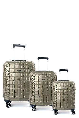 CCS Crocodile 8 Wheels Suitcase Trolley Carry On Hand Hard Shell Travel Bag Lightweight Luggage (3pcs Family Set, Green)