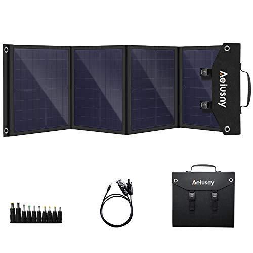 Aeiusny Solar Panel Foldable 60W Portable Solar Charger for Suaoki/Jackery/Webetop Portable Generator/Goal Zero Yeti Power Station/USB Devices, QC3.0 USB Ports(Including Aeiusny Generator Solar Cable)