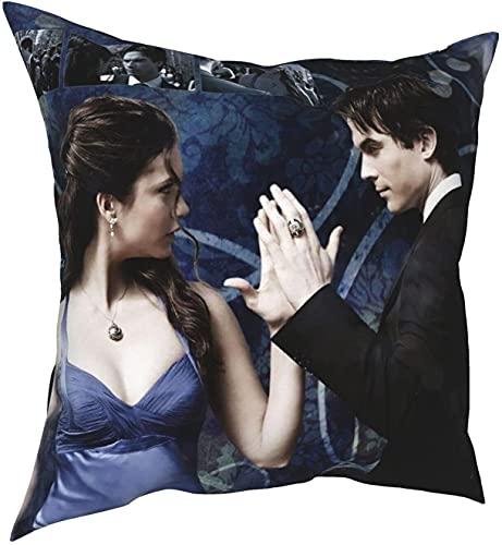 Vampire Diaries, federa per cuscino da donna, uomo, Elena Damon, Love Poster Vampiro, Diari, morbida federa per cuscino per divano, letto, compleanno, festa di vampiro