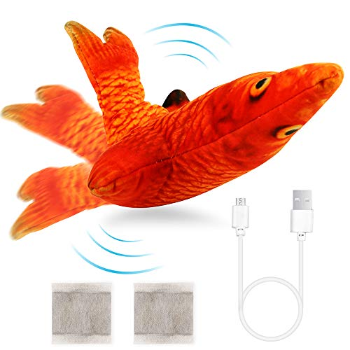 Ackitry Electric Moving Fish Toy Realistic Cat Flopping Fish Toy Wiggle Fish Catnip Toys Plush Interactive Cat Toys for Cat Exercise and Kids Play Education