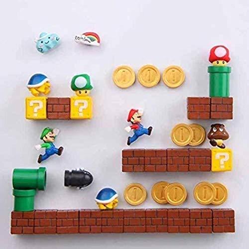 ZP-MIN 63 imanes 3D de Super Mario Bros para nevera, pegatinas divertidas para niños y niños, regalo de cumpleaños, 14 combinaciones, 41 combinaciones