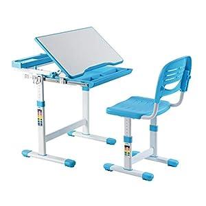 41k0mR65INL. SS300  - Mount-It! Kids Desk and Chair Set, Height Adjustable Ergonomic Children's School Workstation with Storage Drawer Blue