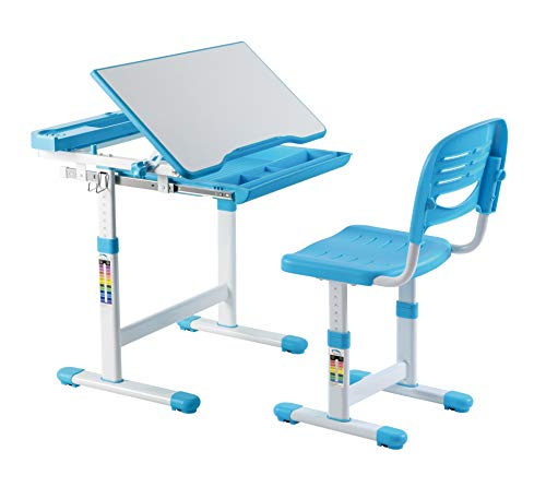 Mount-It! Kids Desk and Chair Set, Height Adjustable Ergonomic Children's School Workstation with Storage Drawer Blue