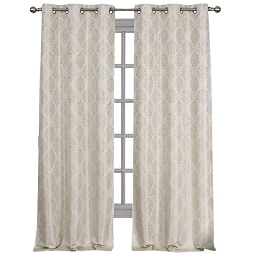 Royal Hotel Paisley Jacquard Beige, Top Grommet Blackout Window Curtain Panels, Pair/Set of 2 Panels, 36x96 inches Each
