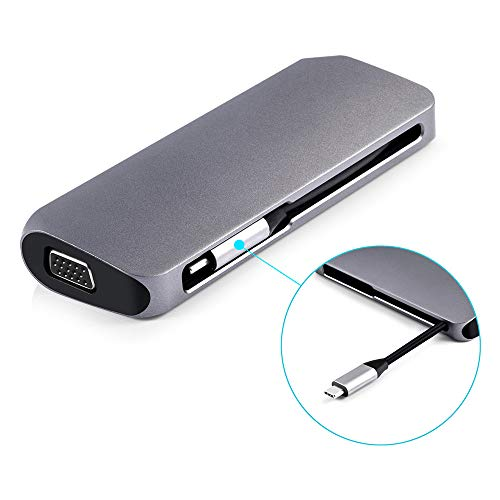 VIER USB C-adapter met USB 3.0-poort en USB-C-voeding, USB C-hub compatibel met Macbook Pro, Samsung S8/S9 Meer