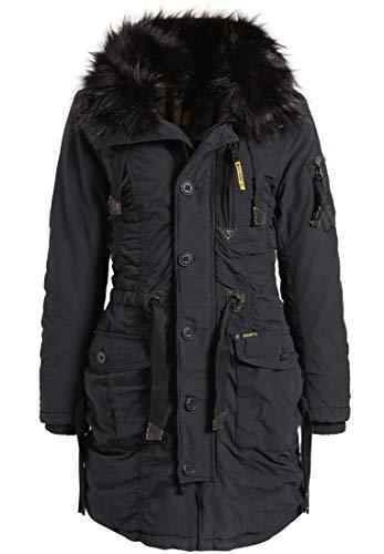 khujo Stefania - Parka de invierno para mujer, 4 colores, tallas XS-XXL negro S