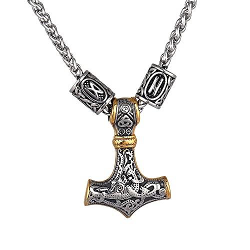 AMOZ Hombres de Acero Inoxidable Cabeza de Lobo Nórdico Vikingo Amuleto Thor Martillo Colgante...