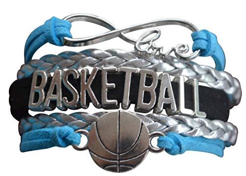 qws Basketball-Charm-Armband – Infinity Love verstellbares Charm-Armband mit Basketball-Anhänger für Basketballspieler