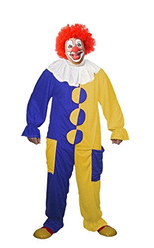The Dragons Den Disfraz de payaso azul y amarillo unisex para adultos, disfraz de circo [L/XL]