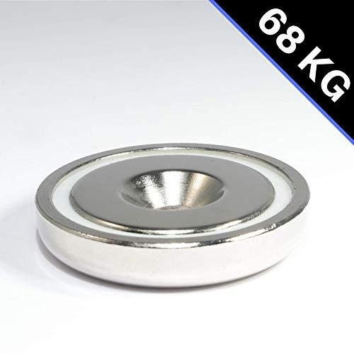 Neodym Magnet mit Bohrung Senkung - Extra Starke Topfmagnete D 48mm - 68 KG Zugkraft - Flachgreifer Rund mit M6 Senkbohrung [1 Stück