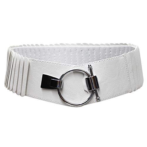 GLOMY 8 cm elastisch PU Leder Dekogürtel (unterscheidet sich bei allen Anlässen), Weiß One size