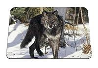 22cmx18cm マウスパッド (オオカミ雪冬草) パターンカスタムの マウスパッド