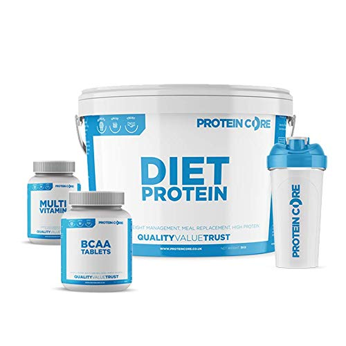 Diet Whey Protein Powder Shake Bundle - Free Vitamin + ZMA Tablets + Shaker - Lose Weight Fast Fat Burner + Maintain Tone - Protein Core (Strawberry, 5KG)