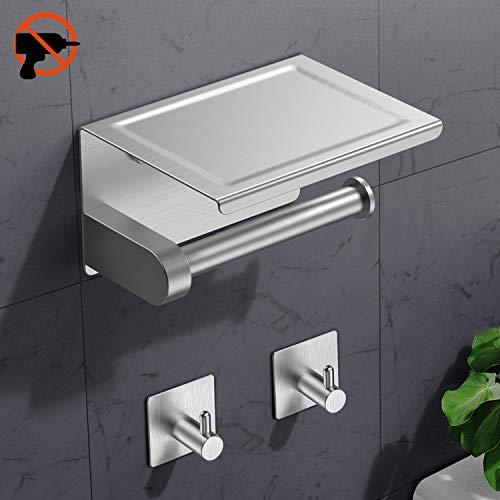 RYMALL 3M-Kleber Selbstklebend Klorollenhalter Edelstahl,Toilettenpapierhalter Ohne Bohren mit Ablage,mit mobiler Telefon Aufbewahrungsfläche Wand Montage,für Küche und Badzimmer(Mit 2 Haken)