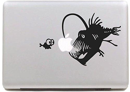 """VATI Blätter Removable kreative Karikatur-Kugelfisch Und Little Fish Aufkleber Aufkleber Skin Art Schwarz für Apple MacBook Pro Air Mac 13\""""15\"""" Zoll/Unibody 13\""""15\"""" Zoll-Laptop"""