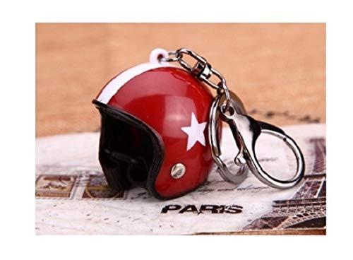 Familienkalender offener Helm ohne Visier Schlüsselanhänger mit Stern, rot Moped, Motorrad, Velo, Geschenk, Sicherheitshelm, Schutzhelm