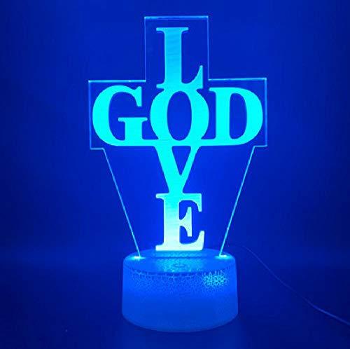 Lichter 3d Lampe Brief Kreuz Gott Liebe Kirche Home dekorative Lampe USB oder batteriebetriebene Kinder Led Nachtlicht
