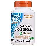 Doctor's Best, Fully Active Folate 400, avec Quatrefolic, 400 mcg, 90 Gélules, sans gluten
