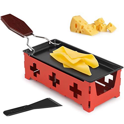Mini Raclette, hicoosee Antihaft-Käse Raclette Rotaster Ofen mit Silikonspatel zum Schmelzen von Käse, Schokolade Rot