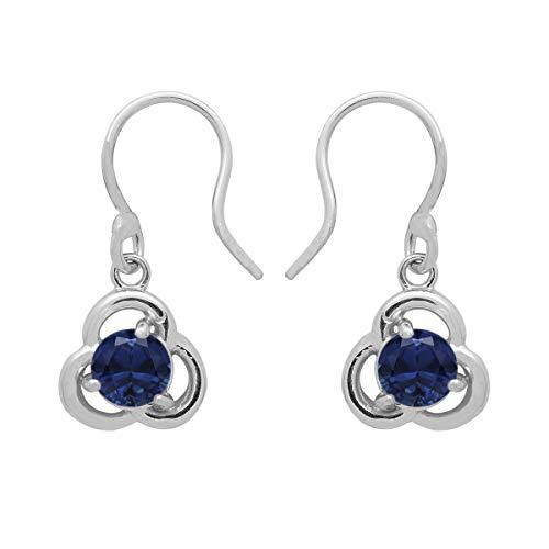 Pendiente colgante celta de forma redonda con piedras preciosas de plata esterlina 925 de múltiples opciones (Zafiro azul)