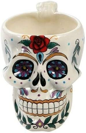 White Tribal Day of The Dead Sugar Rose Drink Skull Blossom Coff SEAL limited product Superior