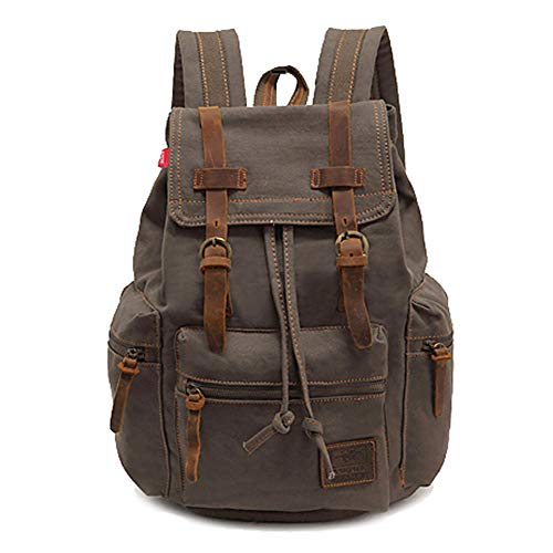MINI Boutique Studdent Canvas Laptop Backpack Unisex Vintage Leather Casual School College Business Bags Hiking Travel Daypack