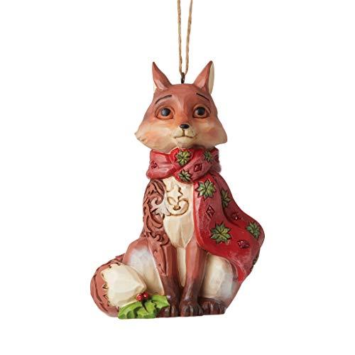 Enesco Jim Shore Heartwood Creek Winter Wonderland Fox Hanging Ornament, 3.9' H, Red, Brown
