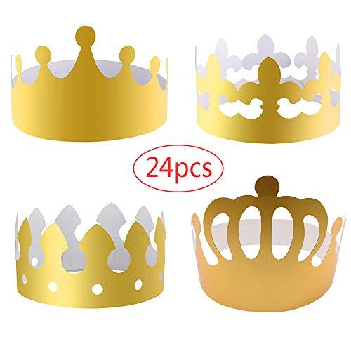 Amasawa 24 stück Papier Kronen Gold Papierhüte Basteln King Crown Hüte König für Party Feier Kinder Erwachsene (Gold)