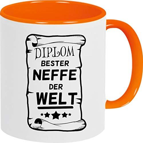 Shirtinstyle Kaffeepott Kaffeetasse, Diplom Bester Neffe Der Welt, Familie, Verwandtschaft, Kaffee, Tee, Spruch, Motiv, Logo, Farbe Orange