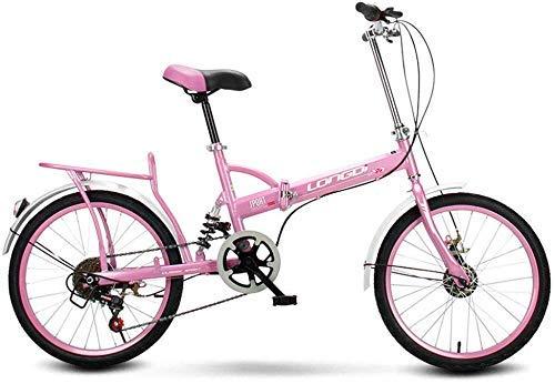 Faltbare Männer und Frauen Faltbare Fahrrad-16-Zoll-Erwachsene Männer und Frauen Tragbare Pendler Schicht Fahrrad Geschenk Auto Aktivität Auto Blau (Farbe:Pink)