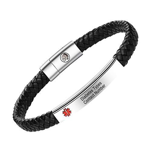 Personalisierte medizinische Alarm Armband für Frauen Männer, Herren Leder Armband Gravur Medizinische Details ID Name Nummern Allergie SOS Awareness Armbänder mit Geschenkbox (Black, 20)