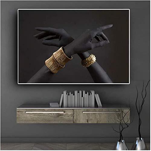 SXXRZA Obra de Arte para el hogar 50x70cm Sin Marco Mano Negra y Dorada con Pulsera de Oro Pintura al óleo Carteles de Arte Africano Cuadros de Pared para la decoración de la Sala de Estar