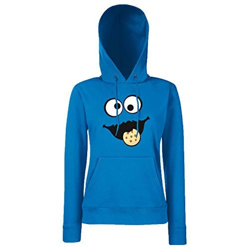 Shirt-Panda Keks Monster Damen Hoodie Gruppen Kostüm Karneval Fasching Verkleidung Party JGA Royal Blue L