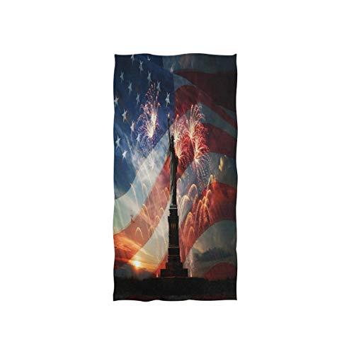 Mnsruu Amerikanische Flagge Freiheitsstatue Feuerwerk Nacht Soft Bad Hotel Spa Hand Gym Sport Handtuch 76 x 38 cm