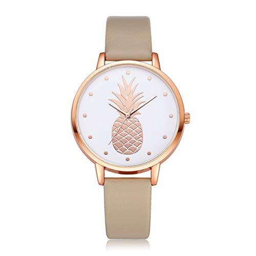 Ballylelly Relojes de Pulsera de Cuarzo Estilo piña con Esfera Redonda, Reloj de Horas de Moda Simple para Mujer, Relojes de Pulsera con cinturón de Cuero para Mujer de Lujo