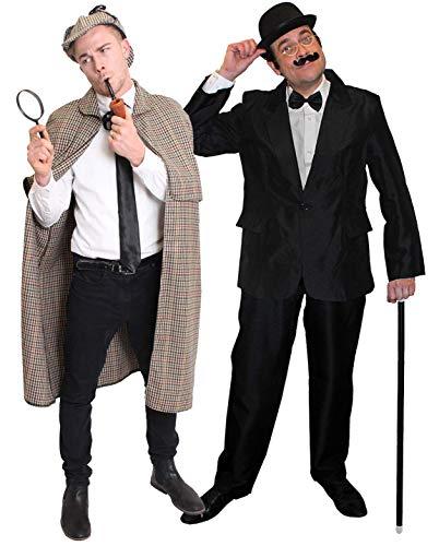 Juego de 2 Piezas para Disfraz de Sherlock Holmes and DR John Watson – Gorra estándar de Sherlock, Traje de Watson pequeńo día Mundial del Libro para Hombres o Mujeres