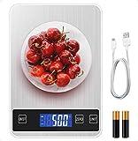 Lidasen Digitale Küchenwaage, Tara Funktion LCD Display Oberfläche Professionelle Präzision auf bis zu 1 Gram Elektronische Waage, USB Aufladbar Max 5kg Modern Küchen Digitalwaage